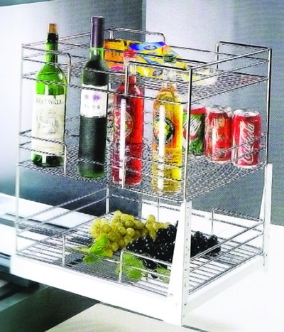 Kitchen Cabinet Accessory : Multifunction 2 Layers Pull Out Basket