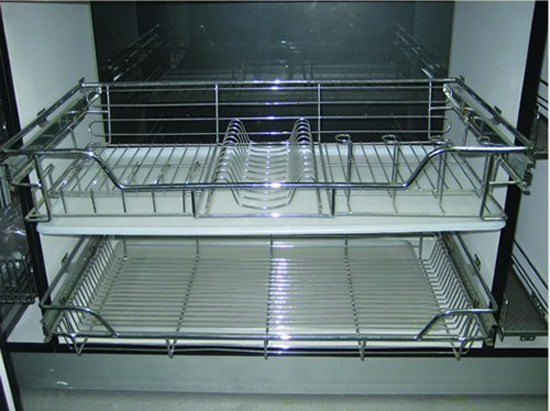 Kitchen Cabinet Accessory : Multi- function Pull Out Basket with Plate