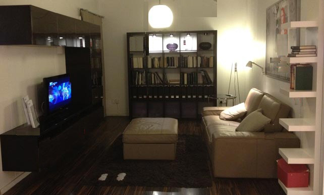 Delightful Living Room Design With TV Cabinet, Display Cabinet Cum Bookshelves.