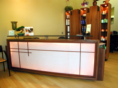 Reception Counter and Display Cabinet